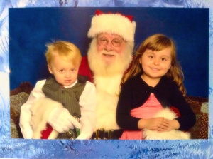 Santa's fan added a little movement to the photo. Including little Dude's Alfalfa hair do ;)