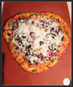 Heart-shaped pizza