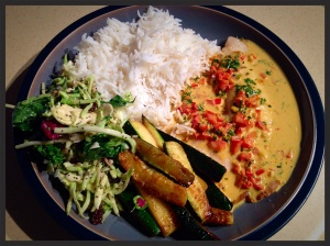 Broiled tilapia with coconut- curry sauce